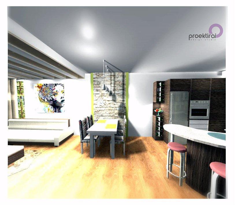 Вариант 2 на декоративна стена зад трапезна маса и окачен таван.