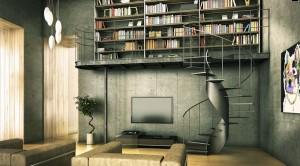 Contemporary-Library-Industrial-Interior-Design