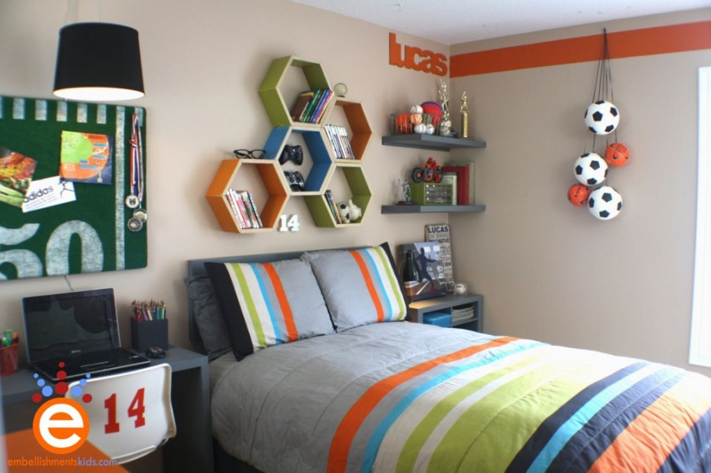 4-13-Grey-gray-orange-green-sports-football-themed-teenage-boys-room-1024x682