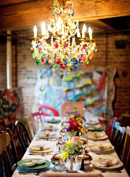 bohemian-chandelier-and-dining
